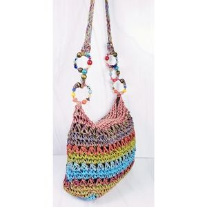 NEW Cappelli Straw Woven Bright Hippie Rainbow Beaded Strap Detail Hobo Bag